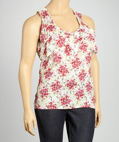 Take a look at this Ivory & Red Wildflower Tier Sleeveless Top - Plus by Christine V on #zulily today!