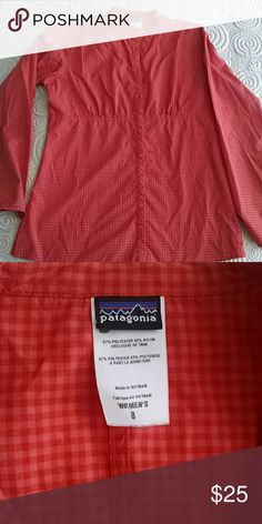 Patagonia top orange/ coral gingham Light weight,  classic Patagonia style gently used Patagonia Tops Blouses