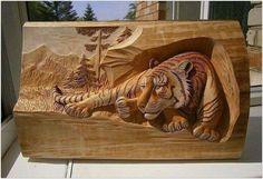 wood carving tiger  木雕