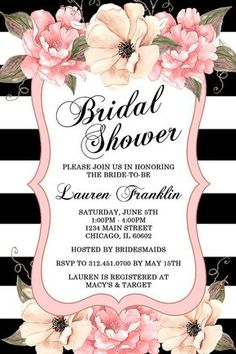 Peony Bridal Shower Invitation, Watercolor Flowers, Pink, Black and White…