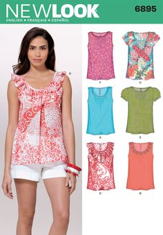 Womens Tops Sewing Pattern 6895 New Look - can't get hold of the pattern yet, but think it will make a nice bunch of summer tops when I do get hold of it!