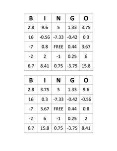 Algebra 1 bingo - solving equations