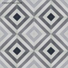 Cement Tile Shop - Encaustic Cement Tile | Ligne Brisse Charcoal baldosas hidraulicas http://www.cementtileshop.com/collection/LigneBrisseCharcoal.html