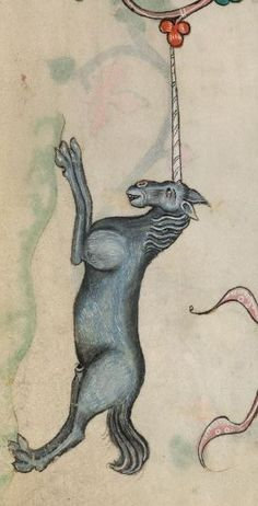 Fabulous Unicorn from The Luttrell Psalter - folio 15r. Manuscript made in Lincolnshire, England, between 132-1340 for Sir Geoffrey Luttrell. (Illuminated manuscript close up).