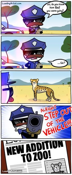 "Okay, I honestly don't get the ""step out of the vehicle"" part, but I love the cheetah's expression."