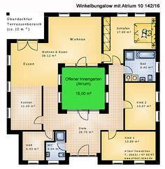 Atrium 10 Winkelbungalow 142 16 Einfamilienhaus Neubau Massivbau Stein auf Stein