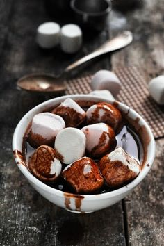 Ultimate Hot Chocolate ~ recipes ~ cocoa powder, sugar, pinch salt, milk, cinnamon stick, dark chocolate, whole marshmallow's ~ microwave to melt...