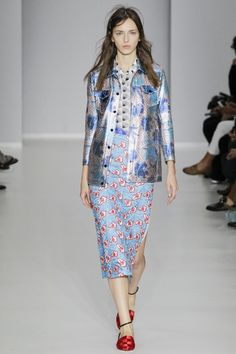 This **Marco de Vincenzo** jacket is rendered in perforated printed leather and features a pointed collar with a snap button placket, bracelet length sleeves, and a slim silhouette with front flap pockets. Ss16, Spring 2016, Look, Ready To Wear, Dresses For Work, Couture, How To Wear, Inspiration, Shopping