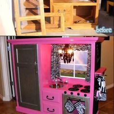 What a great way to recycle an old tv stand!