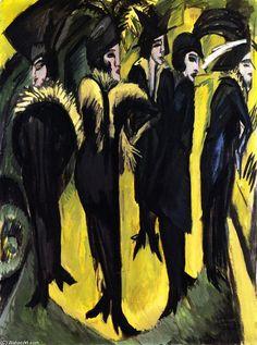 """Cinco mujeres en la calle"""", 1914 de Ernst Ludwig Kirchner (1880-1938, Germany)"""