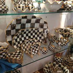 Black n White check pottery at Mckenzie Childs store in Aurora New York
