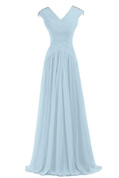 Sunvary V Neck Cap Sleeves Bridesmaid Dresses Mother of the Bride Dresses Chiffon Prom Evening Gowns US Size 8- Light Sky Blue Sunvary http://www.amazon.com/dp/B00MFIQWA2/ref=cm_sw_r_pi_dp_rTTOub1E6ZVV9