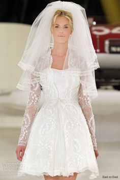 eme di eme bridal 2014 monaco short wedding dress long sleeve jacket close up