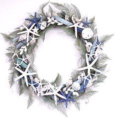 SEASHELL WREATH, Starfish, Limpets, Grapevine Wreath Base, Driftwood, Blue, Blue-Gray, White, Cream, Green, Multi Colored Seashells