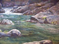 Plein Air Pastel North Yuba River south of Downieville, Ca on Wallis paper 11 x 14 inches by Margaret Parker Brown
