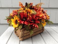 Autumn Floral Centerpiece in Vintage Rectangular Wood Box - Rustic Thanksgiving Floral Arrangement. Thanksgiving Flowers, Rustic Thanksgiving, Thanksgiving Centerpieces, Garden Types, Diy Garden, Fall Floral Arrangements, Floral Centerpieces, Basket Flower Arrangements, Table Centerpieces