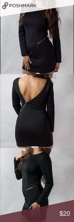 Sexy open zipper in back little back dress Sexy zipper in back little black dress. Long sleeves, fully lined, and perfect fit from top to bottom. Dresses Mini
