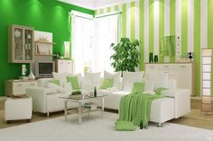 Green room designs – Green living room interior design