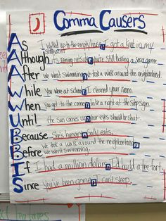 Conjunctions with commas Grammar Anchor Charts, Grammar And Punctuation, Teaching Grammar, Primary Teaching, Grammar Lessons, Writing Lessons, Kids Writing, Writing Resources, Teaching Writing