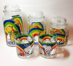 Vintage Snoopy canister set snoopy glassware by tompkinsoriginal