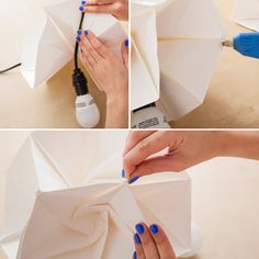 lampe papier origami, collage et insertion d'ampoule en gros plan Diy Origami, Origami Lampshade, Origami Templates, Origami And Kirigami, Origami Love, Origami Folding, Useful Origami, Box Templates, Oragami