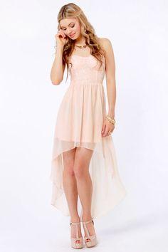 Sexy Strapless Dress - Peach Dress - Sequin Dress - $65.00