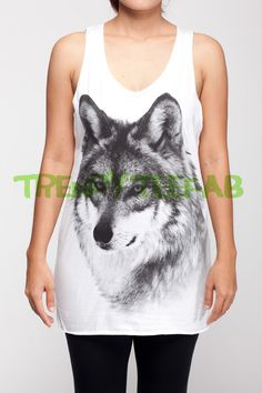 Hey, I found this really awesome Etsy listing at https://www.etsy.com/listing/225056965/wolf-wolves-fox-animal-tanks-women-white