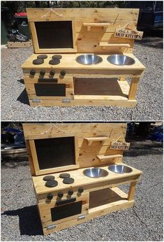 A sort of creative and simple variation designing of the pallet mud kitchen has been custom added up with the wood pallet superb enrollment. You can visible view the stacking of the pallet planks has been put together inside it… Continue Reading → Kids Outdoor Play, Kids Play Area, Backyard For Kids, Diy For Kids, Outdoor Play Kitchen, Diy Pallet Furniture, Diy Pallet Projects, Wood Projects, Small Wooden Projects
