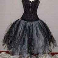 tutu skirt long white black tulle gothfloor by darkestdreams