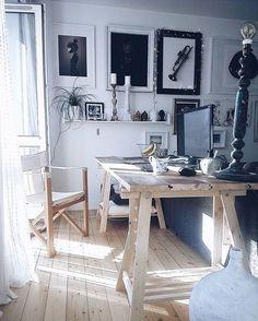 Wooden trestle desk › via @workspacegoals on Instagram