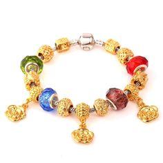 Amazon.com: Women Gift Flower Gold Charm Bracelet DIY Beads Fit Pandora Jewelry: Jewelry