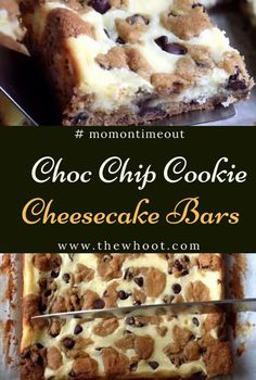 These easy Chocolate Chip Cookie Cheesecake Bars are made with just five ingredients! This easy dessert recipe will satisfy all your cravings! Chocolate Chip Cookie Cheesecake, Cookie Dough Cheesecake, Easy Chocolate Chip Cookies, Chocolate Chip Cookie Bars, Cake Chocolate, Chocolate Cream Cheese Cake, Cookies And Cream Cheesecake, Chocolate Tarts, Chocolate Chips