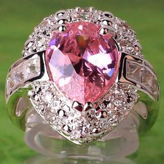 pink window boxes Germany | ... WOW bridal water-drop * Pink & White topaz Gemstone Silver Ring Size 6