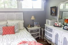 Coral and Gray Bedroom Makeover - Before and After Bedroom - Good Housekeeping