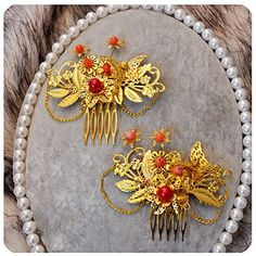Set Of 2 Charming Traditional Chinese Wedding Exquisite Hair Combs Accessory ** Check out this great product.(This is an Amazon affiliate link and I receive a commission for the sales)