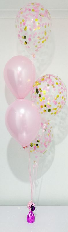 Light pink and gold confetti balloon bouquet.