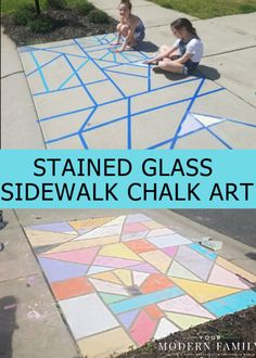 Chalk Art that looks like Stained-Glass! Voted Chalk Art Activity by readers! Stained-Glass Chalk Art is a fun & easy chalk art idea for kids! Sidewalk art is the perfect fun activity to keep kids busy! Outdoor Activities For Kids, Toddler Activities, Kid Activites, Nanny Activities, Art Activities For Preschoolers, 5 Year Old Activities, Summer Activities For Preschoolers, Outdoor Activities For Toddlers, Camping Activities For Kids