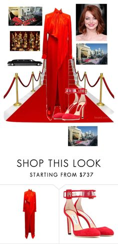 """The Arrival to the Oscar's"" by kotnourka ❤ liked on Polyvore featuring Givenchy and Jimmy Choo"