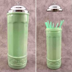 Image detail for -Jadeite Green Glass No Touch Straw Holder Metal Lid Antique Glassware, Vintage Kitchenware, Vintage Dishes, Vintage Pyrex, Vintage China, Vintage Items, Crystal Glassware, Straw Dispenser, Straw Holder