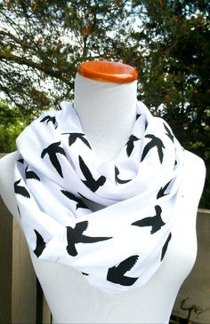 Black Bird infinity Scarf on soft Jersey knit