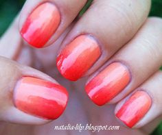 Hot gradient nails in coral and orange #nailart #nails #mani #polish - For more nail looks or to share yours, go to bellashoot.com