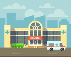 City Hospital Building in Flat Design Style - Buildings Objects