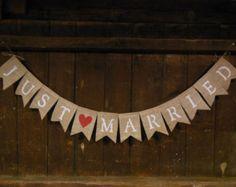 Toile de jute Just Married bannière, guirlande de fanions Just Married, toile de jute bannière, décor de mariage, douche Decor, Photo Prop, Grange rustique