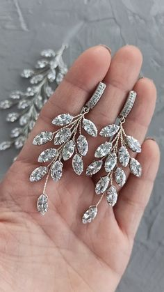 Bridal cubic zirconia crystals earrings, wedding silver earrings with cubic zirconia crystals. branch rhinestone earrings / Buy on Etsy / EDAccessory, Ready to ship! Crystal Jewelry, Crystal Earrings, Sterling Silver Jewelry, Antique Jewelry, Silver Earrings, Vintage Jewelry, Rhinestone Earrings, Vintage Brooches, Jewelry Tags