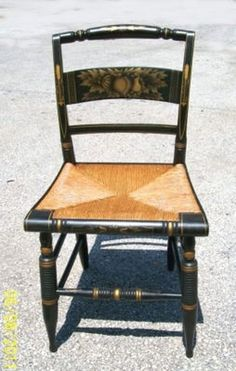 Pair Antique Sheraton Hitchcock Chairs With Stenciled Bird