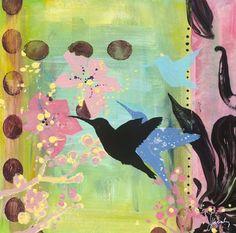 ALOHA HUMMINGBIRD DOTS - Canvas wall art (modern home decor) at GreenBox Art + Culture