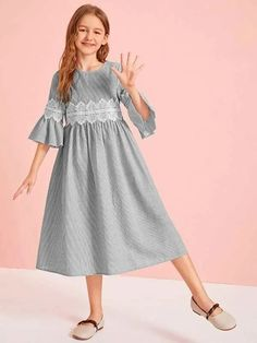 To find out about the Girls Lace Applique Bell Sleeve Striped Dress at SHEIN, part of our latest Girls Dresses ready to shop online today! Girls Fashion Clothes, Girl Fashion, Girl Outfits, Fashion Dresses, Frocks For Girls, Little Girl Dresses, Girls Dresses, Houndstooth Dress, Striped Dress