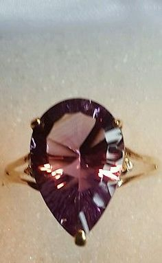 ❤ JAYNES GEMS   4.5CT PEAR CUT AMETHYST & DIAMOND 9CT SOLID  GOLD RING SIZE N-