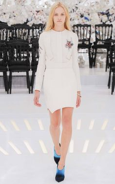 Futuristic feminine style: delicate space suit details + a hint of floral embroidery white mini dress Christian Dior Fall Winter 2014 #Couture #FW14 #HauteCouture #PFW