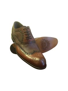 nice COGNAC LEATHER WING TIP LIZARD SKIN